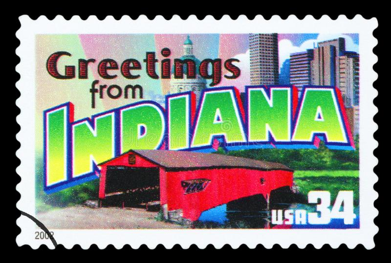 US - Postage Stamp. UNITED STATES OF AMERICA - CIRCA 2002: a postage stamp printed in USA showing an image of the Indiana state, circa 2002 stock image