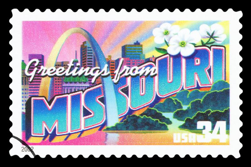 US - Postage Stamp. UNITED STATES OF AMERICA - CIRCA 2002: a postage stamp printed in USA showing an image of the Missouri state, circa 2002 royalty free stock image