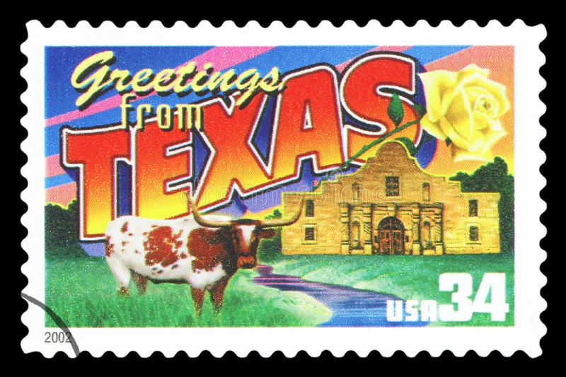 US - Postage Stamp. UNITED STATES OF AMERICA - CIRCA 2002: a postage stamp printed in USA showing an image of the Texas state, circa 2002. Isolated on black stock photography