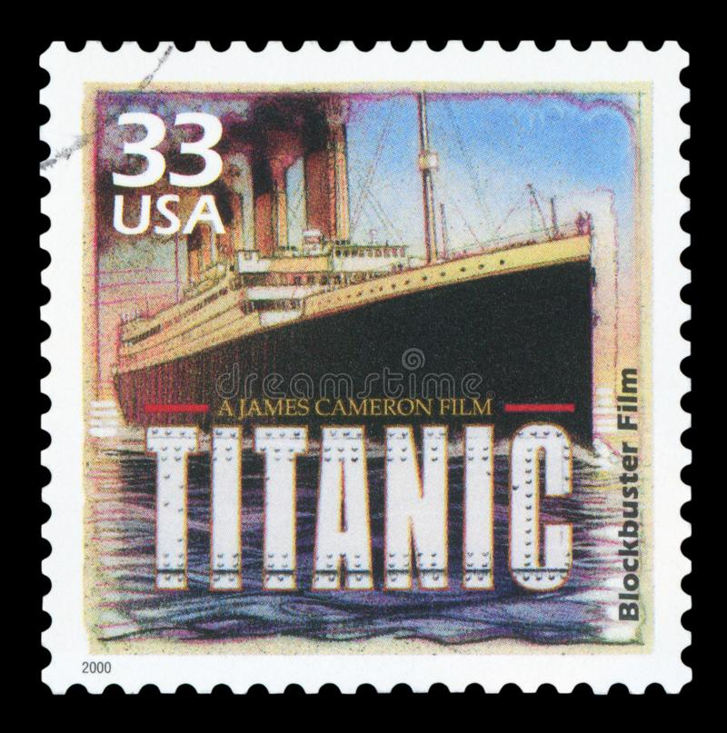 US - Postage Stamp. UNITED STATES OF AMERICA - CIRCA 2000: A postage stamp printed in USA showing an image of Titanic movie from James Cameron, circa 2000 royalty free stock photo