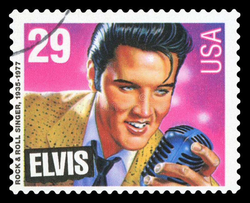 US - Postage Stamp. UNITED STATES OF AMERICA - CIRCA 1993: A stamp printed in USA shows Elvis Presley, American Music Series, circa 1993 - Isolated on black royalty free stock photography