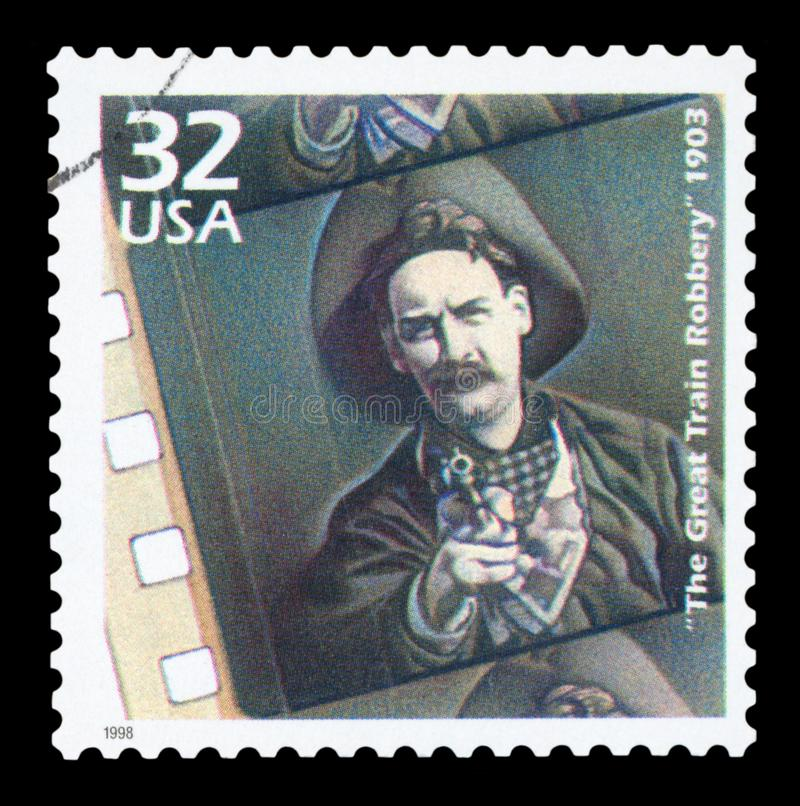 US - Postage stamp. UNITED STATES OF AMERICA 1998: A postage stamp printed in USA showing an image of the 1903 film The Great Train Robbery directed by Edwin S royalty free stock photography