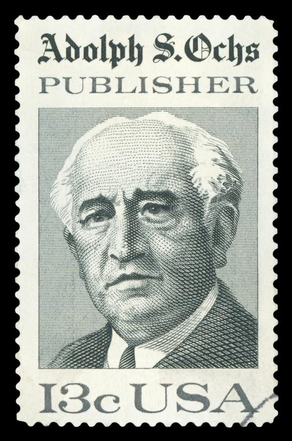 US - Postage Stamp. UNITED STATES - CIRCA 1976: stamp printed by United states, shows Adolph Ochs, circa 1976 stock photos