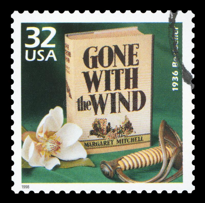 US - Postage Stamp. UNITED STATES CIRCA 1998: a postage stamp printed in USA showing an image of Gone with the Wind novel by Margaret Mitchell, circa 1998 royalty free stock image