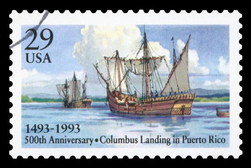 US - Postage Stamp. USA - CIRCA 1993: A Stamp printed in USA shows the Columbus` Landing in Puerto Rico, 500th anniversary, circa 1993 royalty free stock photo