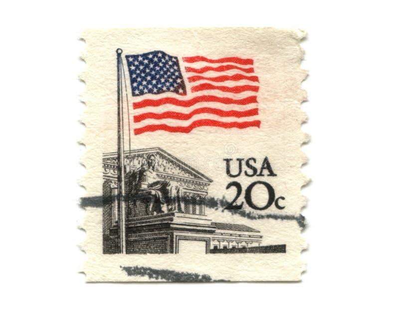 US postage stamp on white background stock image