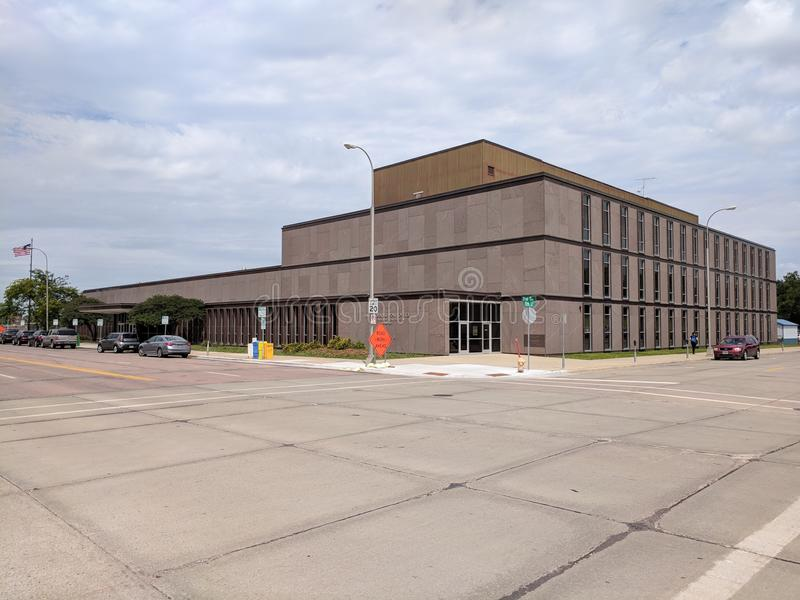 US Postal Service Building in Downtown Sioux Falls, SD. The United States post services, offices and Postmaster, on First Ave, in downtown Sioux Falls, South stock photography