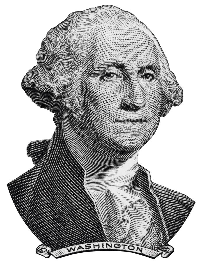 US President George Washington face on one USA dollar bill macro. Isolated, 1 usd, United States of America money closeup stock image