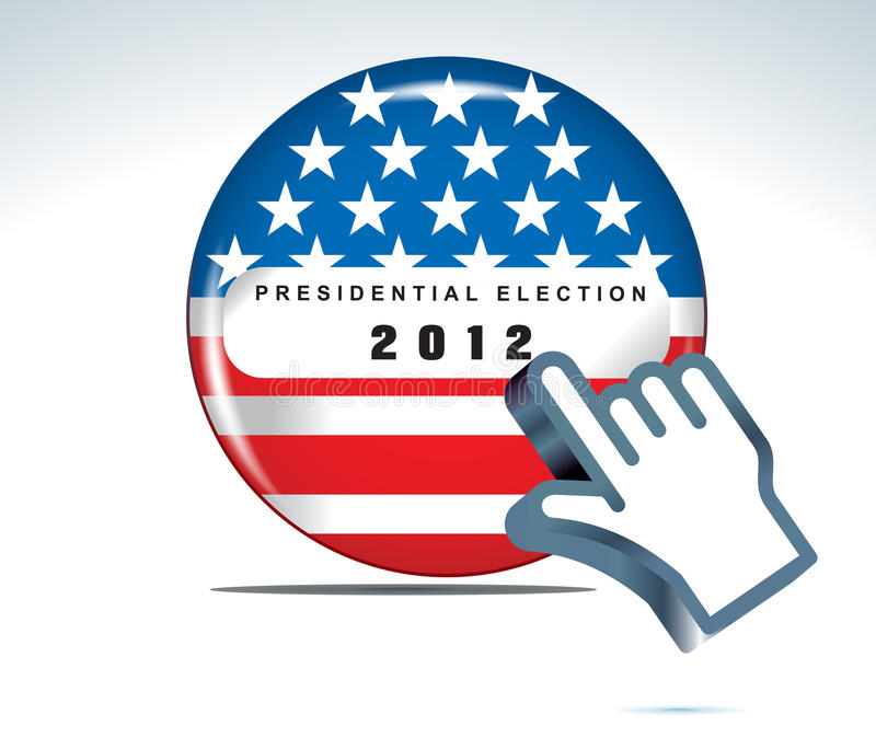 Us presidential election in 2012. Vector button and hand cursor stock illustration