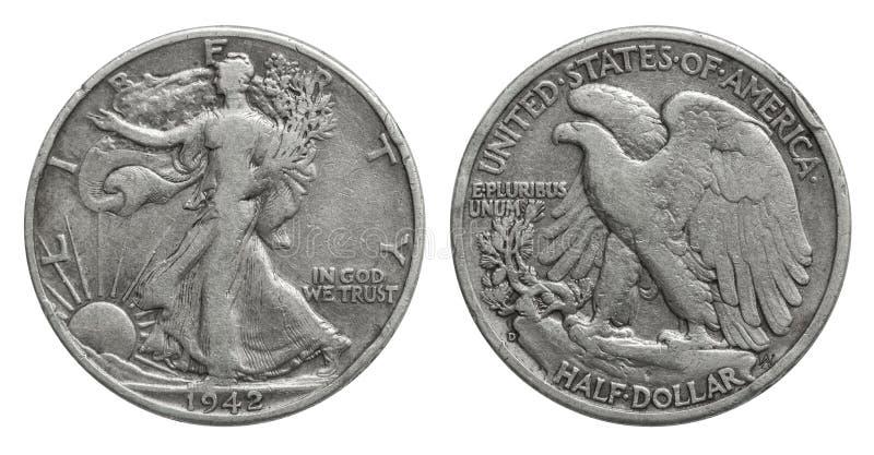 US Half Dollar 50 cents silver coin 1942. US Quarter Dollar 50 cents silver coin 1942, in god we trust, eagle royalty free stock photos