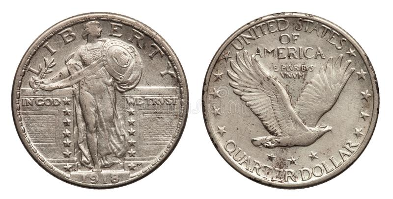 US Quarter Dollar 25 cents silver coin 1918. In god we trust, flying eagle stock image