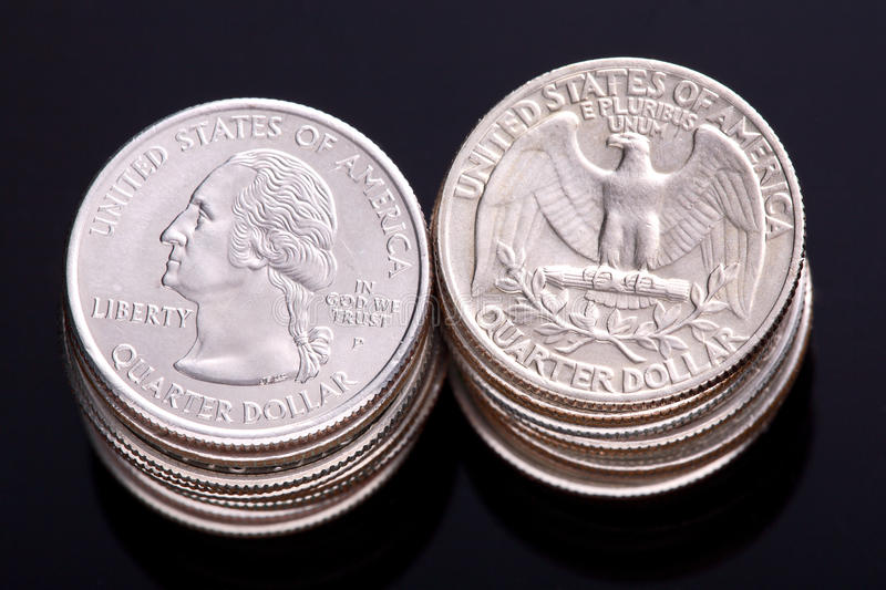 US Quarter Dollars. With George Washington on the head with an Eagle on the reverse stock photography