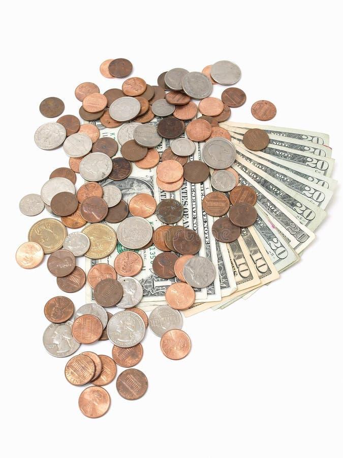 US-Rechnungen und Münzen lizenzfreie stockbilder