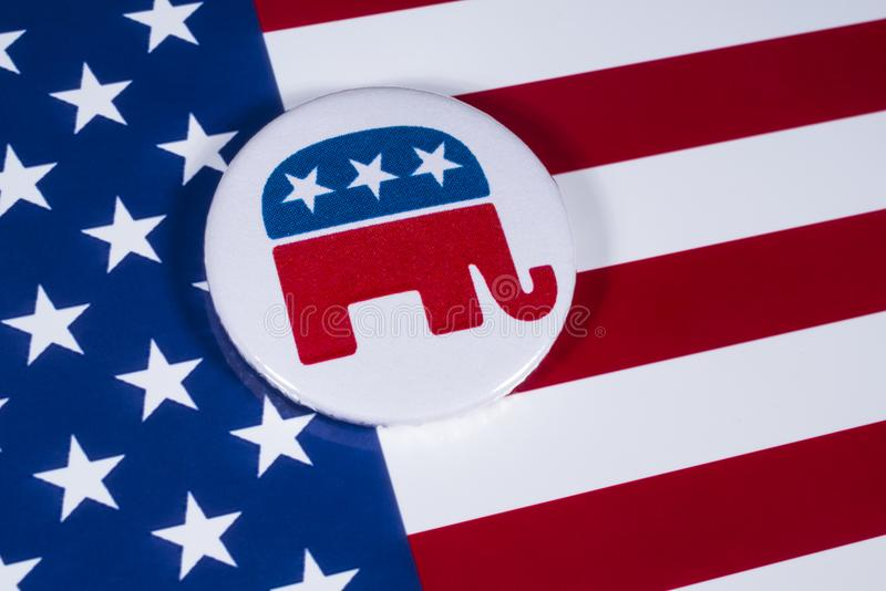 The US Republican Party. LONDON, UK - DECEMBER 18TH 2017: The Elephant symbol of the Republican Party, with the American flag behind it, on 18th December 2017 stock photos