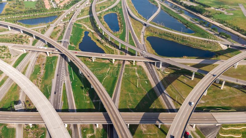 US Roads and Highways. I75 Interstate and I595 Highway. Aerial, drone view. stock images