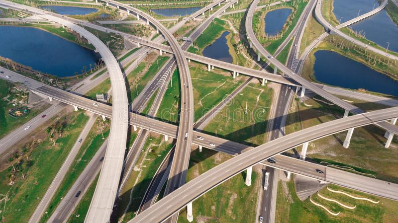 US Roads and Highways. I75 Interstate and I595 Highway. Aerial, drone view. stock photo