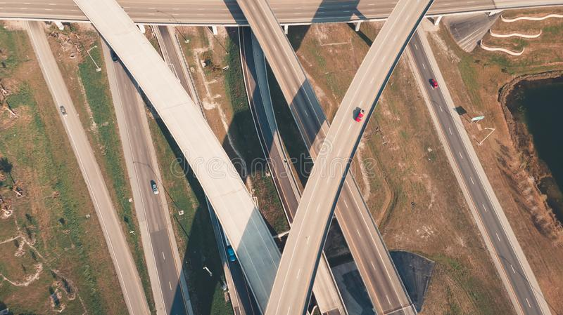 US Roads and Highways. I75 Interstate and I595 Highway. Aerial, drone view. stock photography