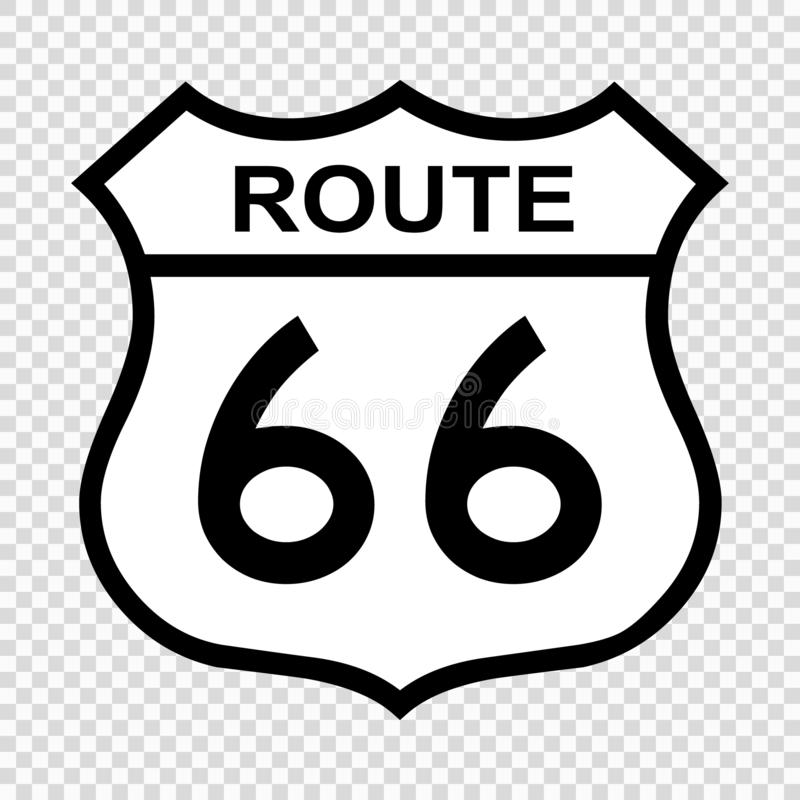 US route 66 sign. Shield sign with route number royalty free illustration