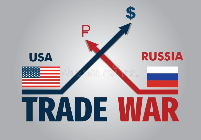 US-Russia trade war - economical illustration stock image