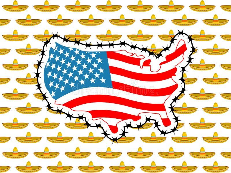 US schließen Grenze mit Mexiko Stoppen Sie Sombrero Karte von Amerika mit lizenzfreie abbildung