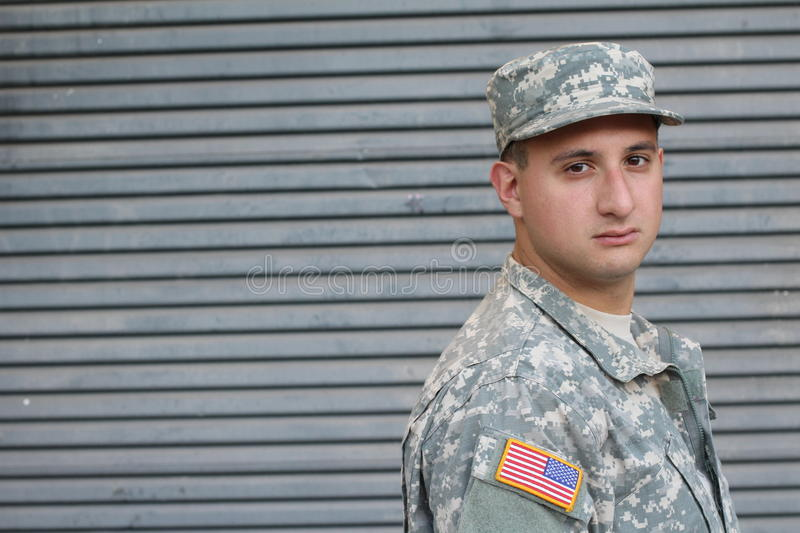 US Soldier With PTSD. Close Up royalty free stock photography