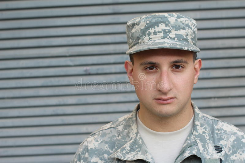 US Soldier With PTSD. US Soldier With Intense PTSD stock photo