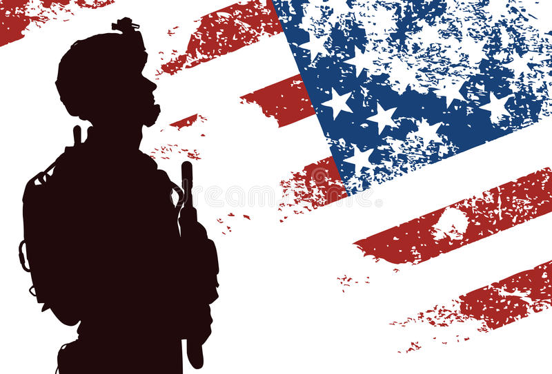 US soldier. Silhouette of US soldier with the American Flag on the background vector illustration