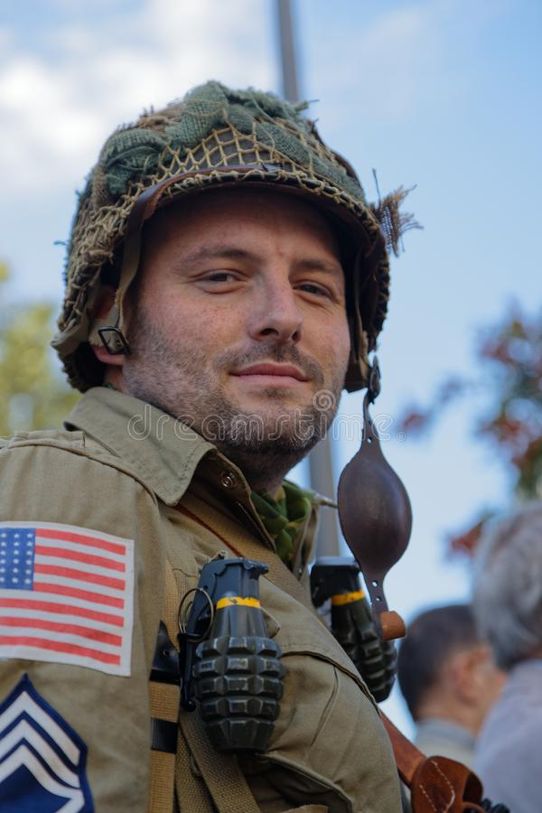 US Soldier during 75th anniversary of Liberation of Lyon royalty free stock image