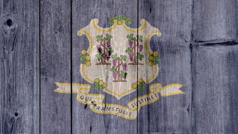 US-Staats-Connecticut-Flaggen-Bretterzaun stockfoto