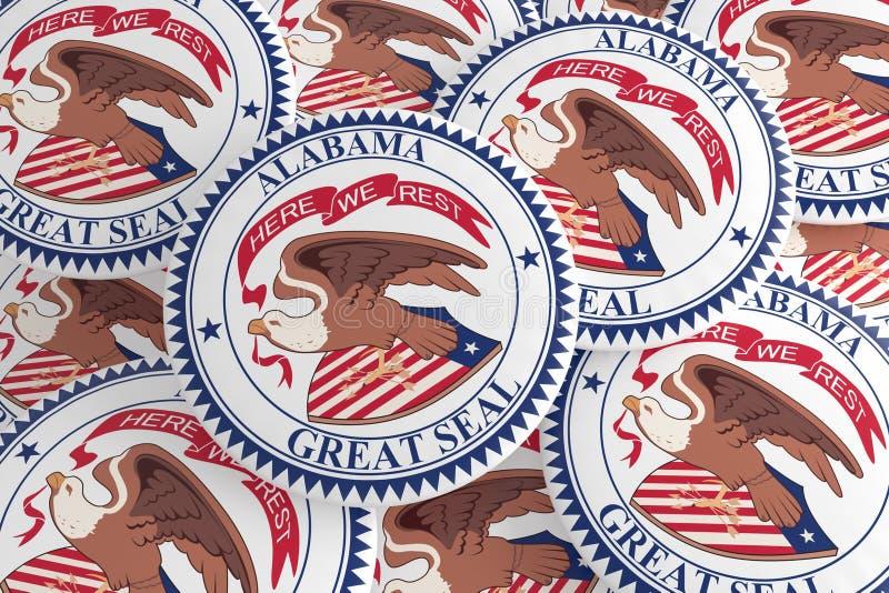 US-Staats-Knöpfe: Stapel von Alabama-Dichtung wird Illustration 3d deutlich lizenzfreie abbildung