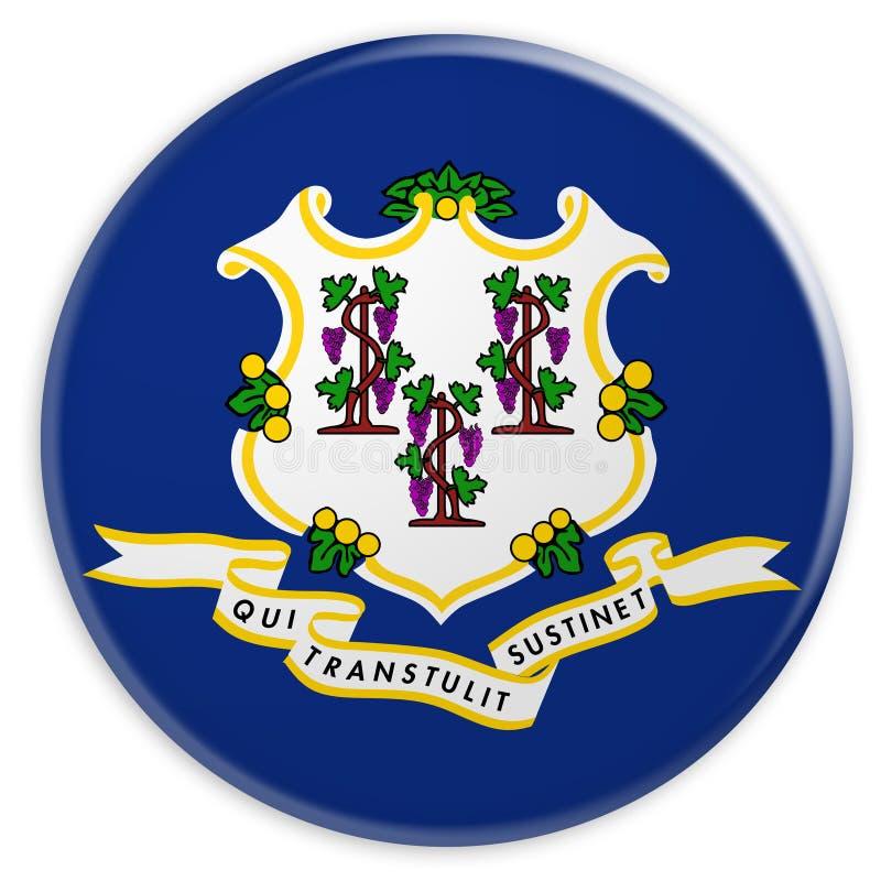 US-Staats-Knopf: Illustration des Connecticut-Flaggen-Ausweises 3d auf weißem Hintergrund stock abbildung