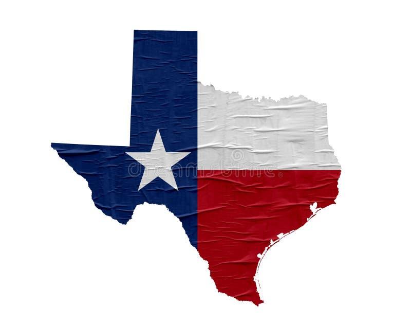 US-Staats-Texas-Karte mit Flagge stockfotografie