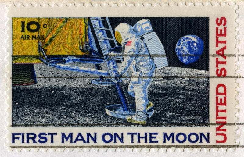 US Stamp Celebrating the First Man on the Moon. UNITED STATES, CIRCA 1969: A vintage 10 cent US Postal Stamp celebrating the First Moon Landing, circa 1969 stock images