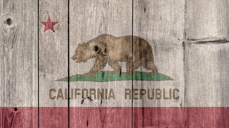 US State California Flag Wooden Fence. USA Politics News Concept: US State California Flag Wooden Fence stock photos
