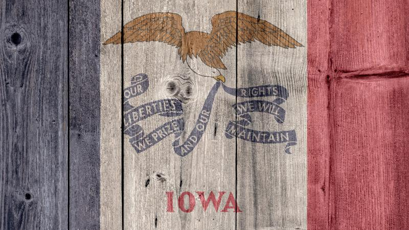 US State Iowa Flag Wooden Fence stock photography