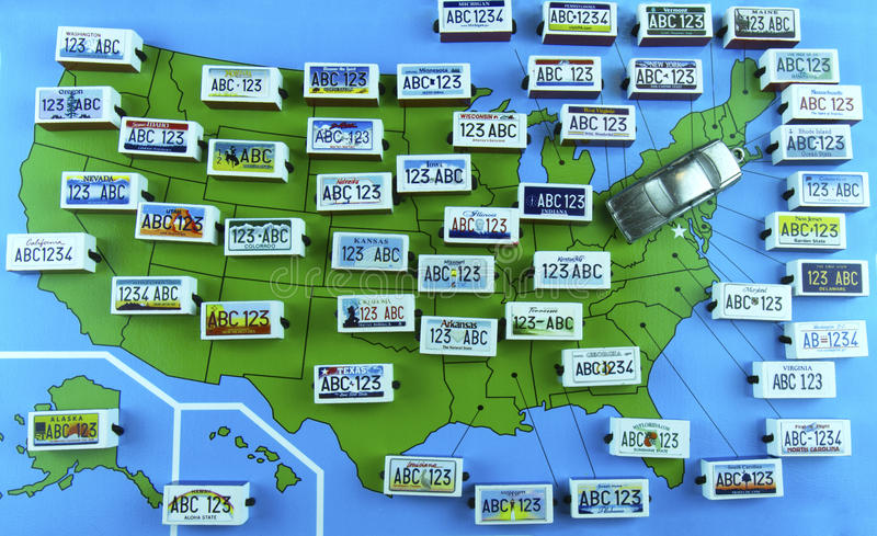 US State License Plates On Map With Sedan Editorial Stock Photo - Us map with license plates