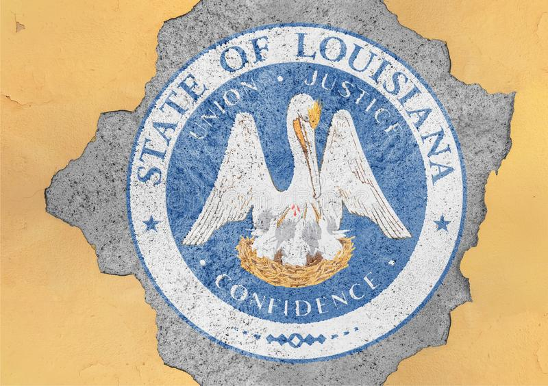 US state Louisiana seal flag in big concrete cracked hole. And broken material facade structure royalty free stock images