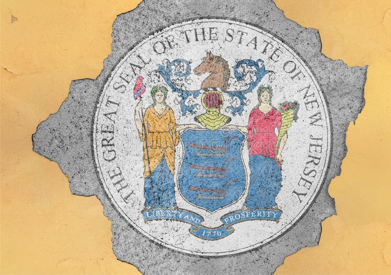 US state New Jersey flag seal in big concrete cracked hole. And broken material facade structure stock photo