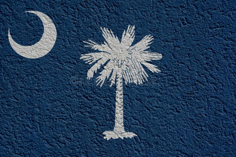 US State Politics Or Business Concept: South Carolina Flag Wall With Plaster royalty free illustration