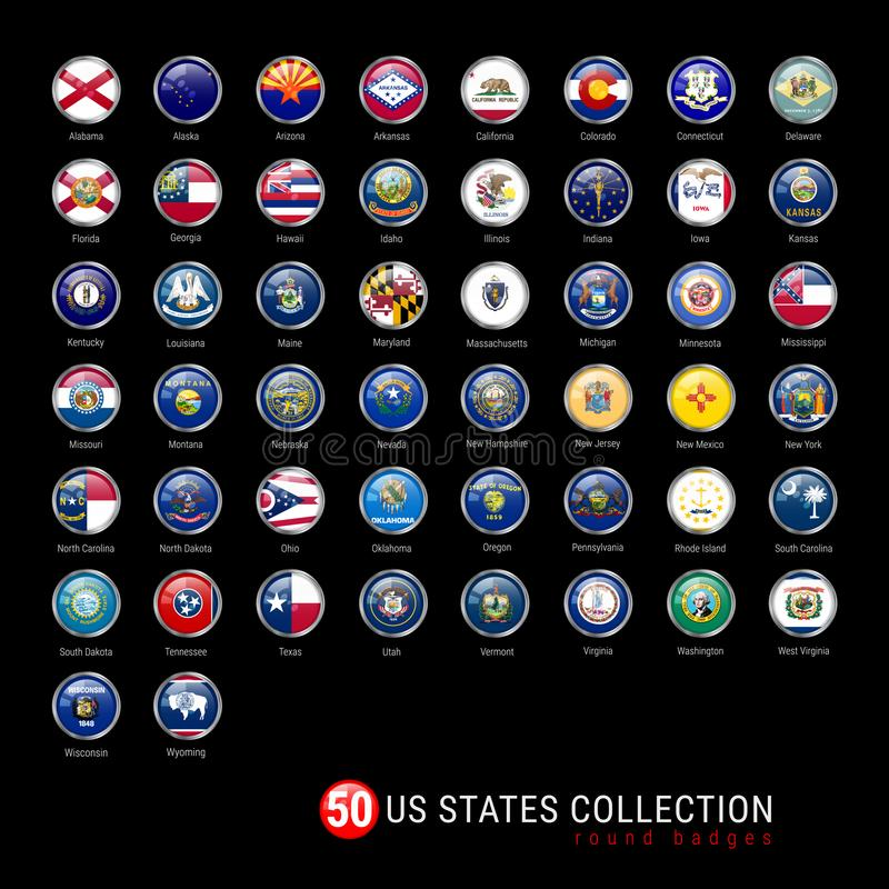 US States Flags Round Badges. All 50 Flags of the US States in a Single Vector File. Realistic 3D Glossy Buttons royalty free illustration