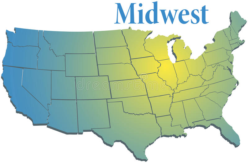 Download US States Regional MidWest Map Stock Vector   Illustration Of  Michigan, Missouri: 47670909