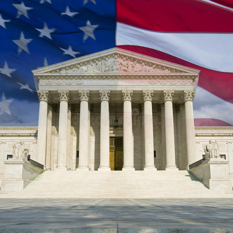 US Supreme Court with Flag. The front of the US Supreme Court in Washington, DC, montaged with the current US flag royalty free stock image