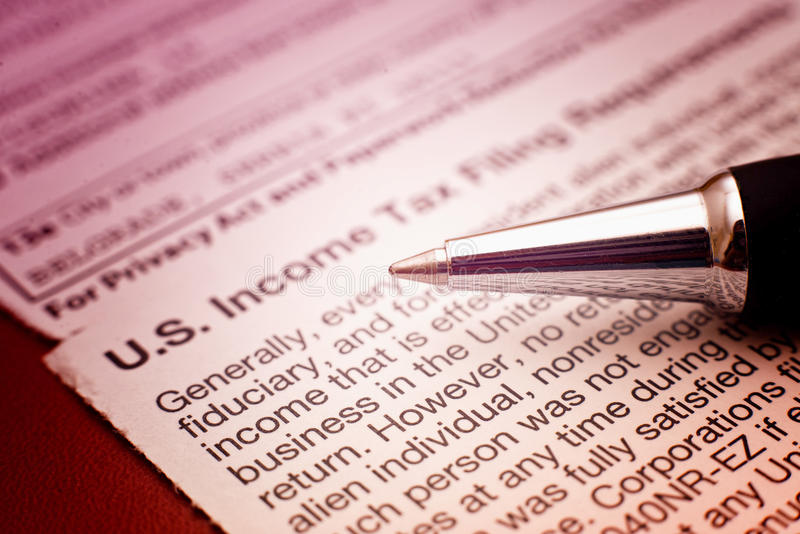 US tax form 1042. Foreign person's US source income subject to Witholding stock image