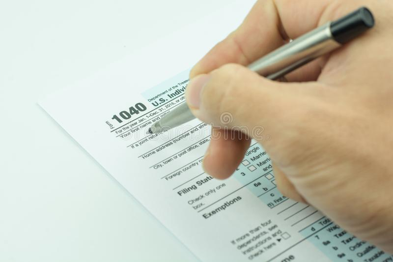 US tax form with pen taxation concept.  stock photography