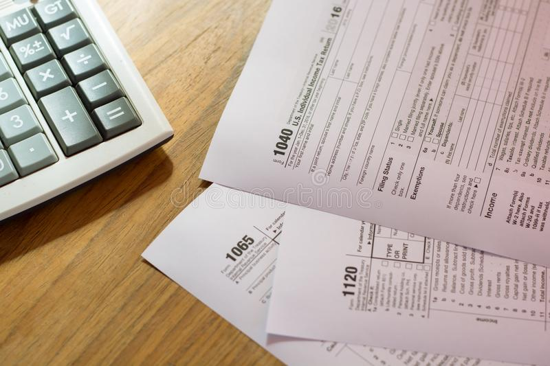 US tax form with pen taxation concept.  royalty free stock photography
