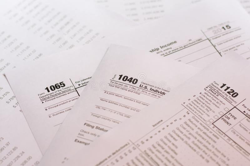 US tax form with pen taxation concept.  royalty free stock images