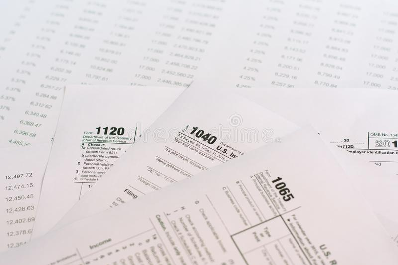 US tax form with pen taxation concept.  royalty free stock photo