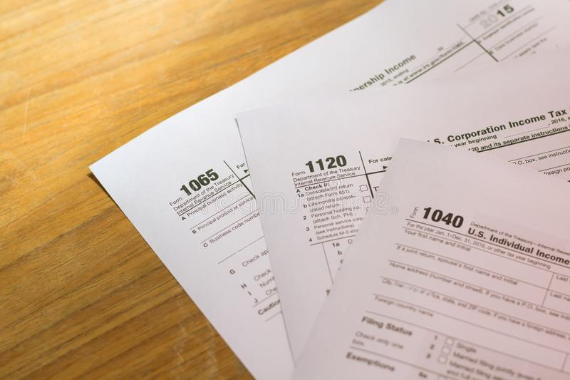 US tax form with pen taxation concept.  royalty free stock image