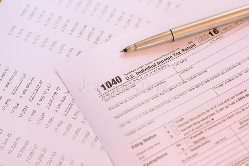 US tax form with pen taxation concept.  stock images