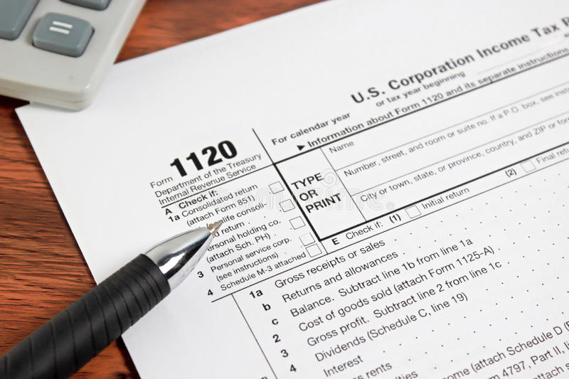 US tax form 1020 on table. / taxation concept stock photo